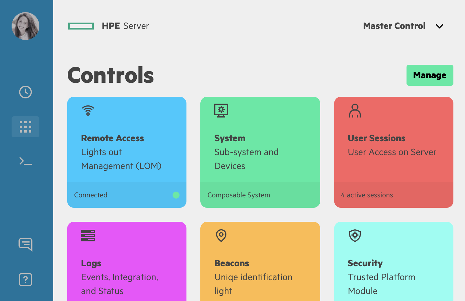 HPE Design System Cards Dashboard Example
